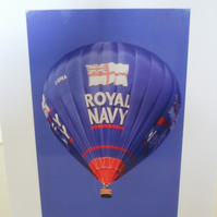 Photographic greetings card of a Royal Navy hot air balloon.
