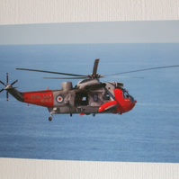 Photographic greetings card of a R.N. Rescue helicopter.