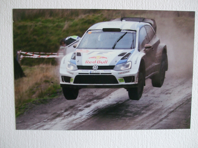 Photographic greetings card of Jari-Matti Latvala in a VW Polo R WRC.