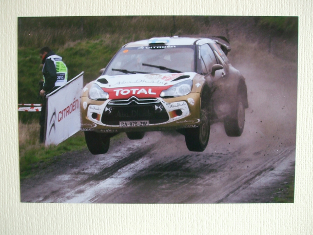Photographic greetings card of Mikko Hirvonen in a Citroen DS3 WRC.