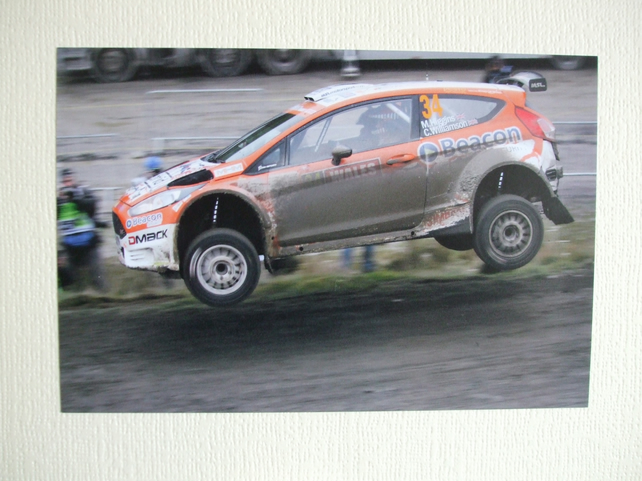 Photographic greetings card of Mark Higgins in a Ford Fiesta R5 WRC2.