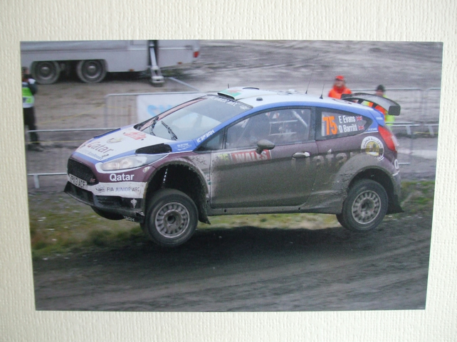 Photographic greetings card of Elfyn Evans in a Ford Fiesta R5 WRC2.
