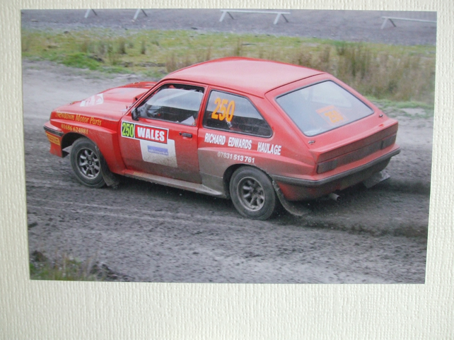Photographic greetings card of a Vauxhall Chevette HSR Rally car.