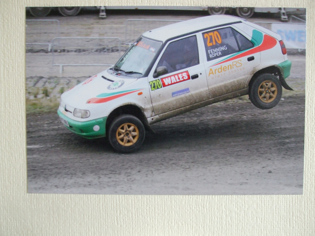 Photographic greetings card of a Skoda Felicia Rally Car.