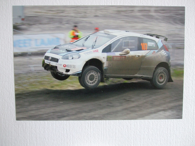 Photographic greetings card of a Fiat Punto S2000 Rally Car.