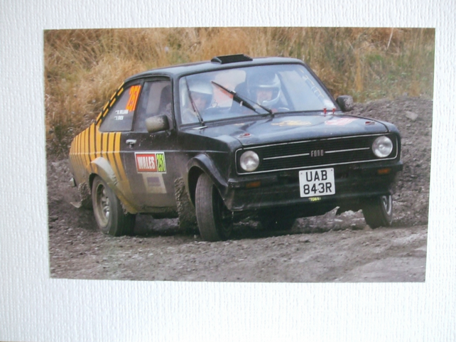 "Photographic greetings card of a Ford Escort Mk.2, going ""Sideways""!"