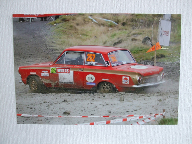 Photographic greetings card of a Ford Lotus Cortina Mk.1.