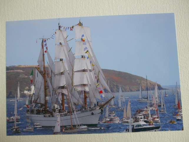 "Photographic greetings card of Tall Ship ""Cuauhtenoc"" in the Parade of Sail."