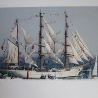 "Photographic greetings card of ""Cuauhtenoc"", a Tall Ship; fully rigged."