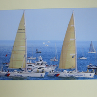 "Photographic greetings card of ""Challenger 1 & 4"" in the Parade of Sail."