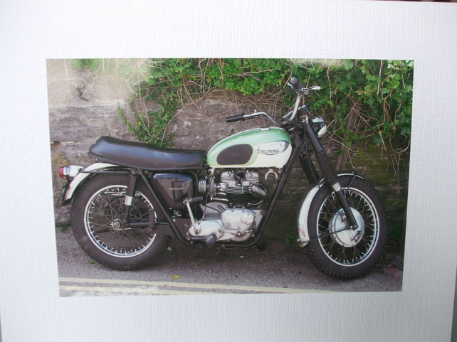 Photographic greetings card of an old Triumph Motorbike.