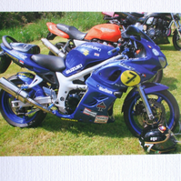 "Photographic greetings card of a Suzuki ""Barry Sheene"" replica."