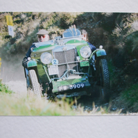 Photographic greetings card of an MG J2 on the Land's End Trial