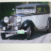 Photographic greetings card of a 1935 Rolls Royce 20-25 Barker S. de V.