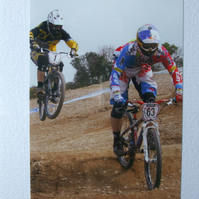 Photographic greetings card of 4X bike racing.