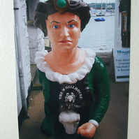 Photographic greetings card of  an old ships figurehead.