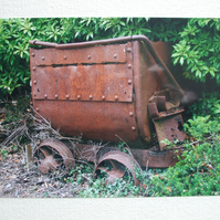 Photographic greetings card of an old Tin Mine Tub.