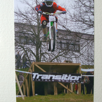 Photographic greetings card of Urban Down Hill Bike Racing.