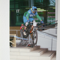 Photographic greetings card of No. 3 Urban Downhill Bike Racer.
