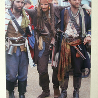 Photographic greetings card of Three Pirates !.