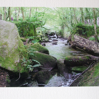Photographic greetings card of the River Kennal, in Kennal Vale Nature Reserve.