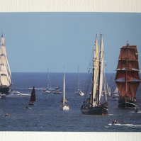 Photographic greetings card of Tall Ships :- Mercedes, Iris, and Eye of the Wind
