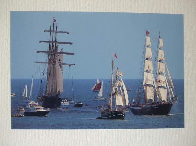 Photographic greetings card of Tall Ships :- Gulden Leeuw, Iris, and Mercedes.