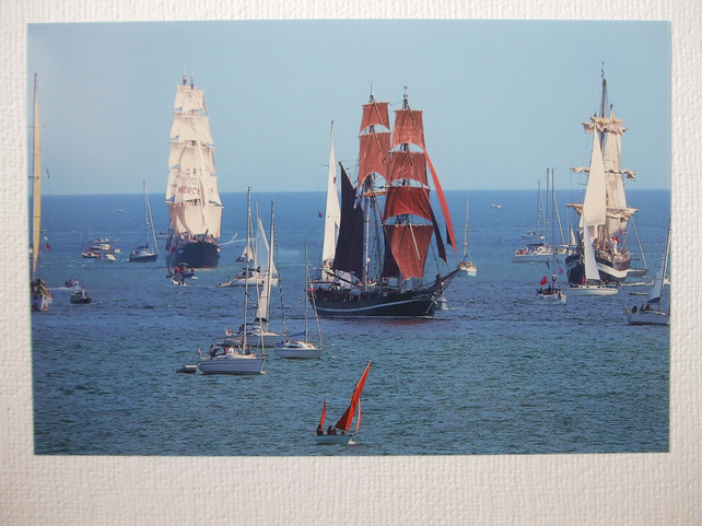 Photographic greetings card of Five Tall Ships in the Parade of Sail, 31-08-14.