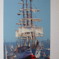 "Photographic greetings card of Tall Ship "" Dar Mlodziezy""."