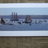 Photographic greetings card of Tall Ships in Falmouth Bay.