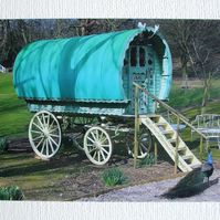 Photographic greetings card of a Gypsy Caravan.