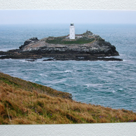 Photographic greetings card of Godrevy Lighthouse & a rough sea.