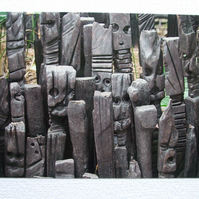 Photographic greetings card of charred totems at the Eden Project.