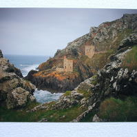 Photographic greetings card of an atmospheric view of Botallack Tin Mine