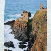 Photographic greetings card of Botallack Tin Mine, from the coast path.