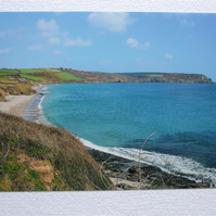 Photographic greetings card of Pendower Beach & Nare Head.