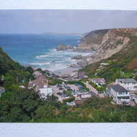Colour photographic greetings card of Trevaunance Cove from the Peterville path.