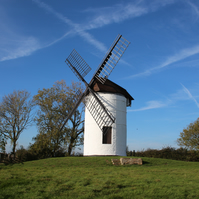 Ashton Windmill, a landscape photo on a card.