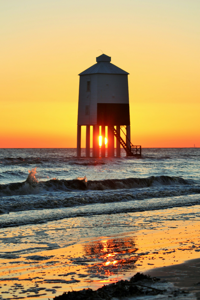 Photo card of Burnham-on-Sea Low Lighthouse at Sunset.