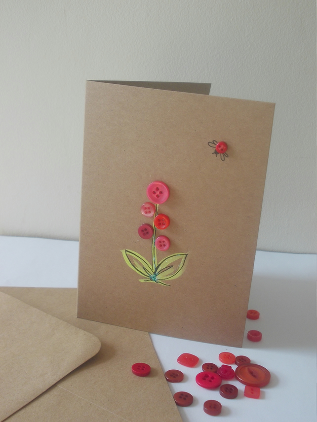 Original hand illustrated pink button flower and ladybird card
