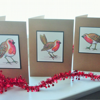 Original illustrated set of three Robin cards