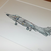 Hand drawn artwork of british Sea Harrier jump jet.