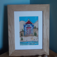 Beach hut in oak frame