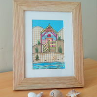 Beach hut (candy) with oak frame