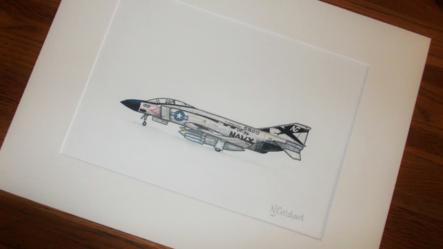 Hand drawn artwork of American Phantom Navy Jet