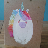Rainbow glitter hand painted unicorn card