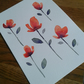 Original hand painted - watercolour of simple flowers in orange