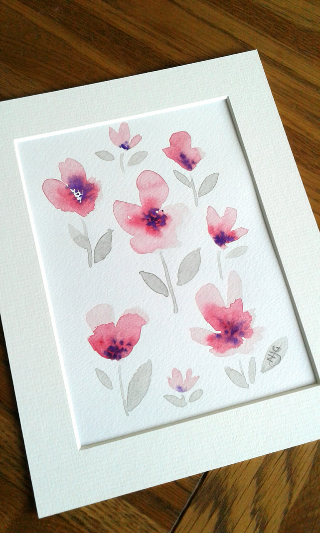 Original hand painted - watercolour of simple flowers in pale pink