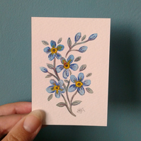 Forget me not - original hand painted ACEO