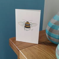 Hand painted bumble bee greeting card